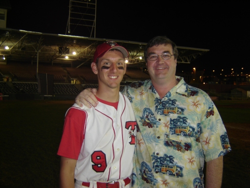My son, Jon, and myself after one of his baseball games in college.