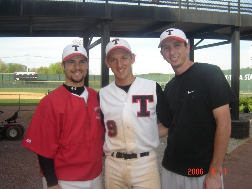 Jon with two of his teammates he played college ball with - Gus Hernandez and Marcus Mortensen.   Two godly young men that had a good influence on my boys, Jeremiah and Jon when they played.   Love these good me - and Jon, too!