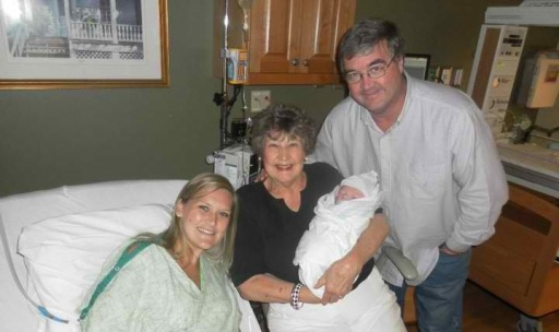 Four generations.   Mom raised me to love the Lord as I did Ashley.  Now, she and Bryan are doing the same for Brody.
