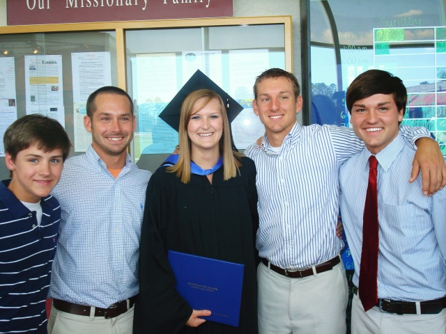 Ashley with her brothers at her graduation - Jake, Jeremiah, Jon, and Jordan.