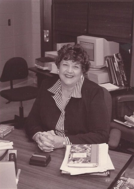 Mom at her post as secretary at Butler High School.    She loved her work and friends there.