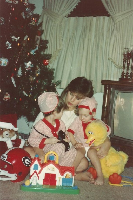 Paula with Jeremiah and Jon, Christmas, 1987.   I am so grateful for Paula, she is a terrific mother!