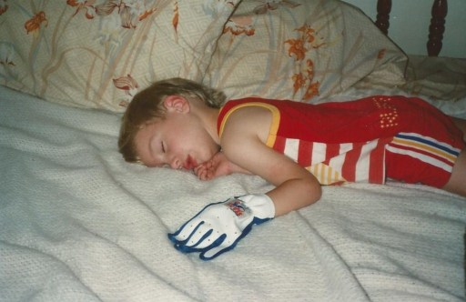 Jonathan loved baseball and wore this oversized batting glove all the time.