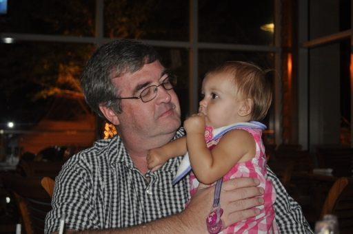 Me and my sweet grand daughter, Brighton, sharing crackers at dinner.