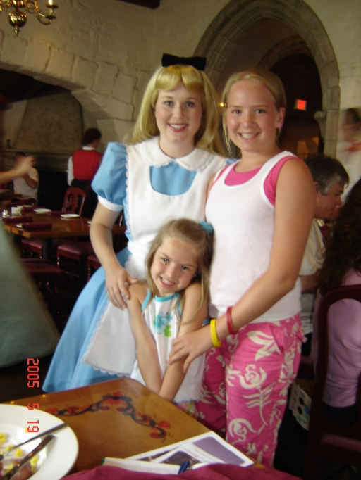 My sweet girls, Aubrey and April, at a character lunch at Epcot.