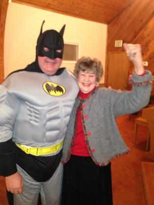 I told the story about my wanting a Batman uniform and they got me one!   This is me with my Mom.