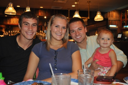 Jordan's good-bye meal before he left for his Costa Rica missions internship - with Bryan, Ashley, and Brighton.
