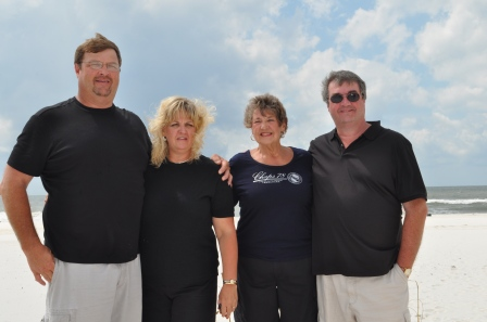 Hoss, Melanie, Mom and myself at Orange Beach in 2010.