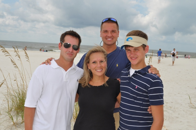 Paula with some of her boys, Jeremiah, Jordan, and Jake (summer of 2010).